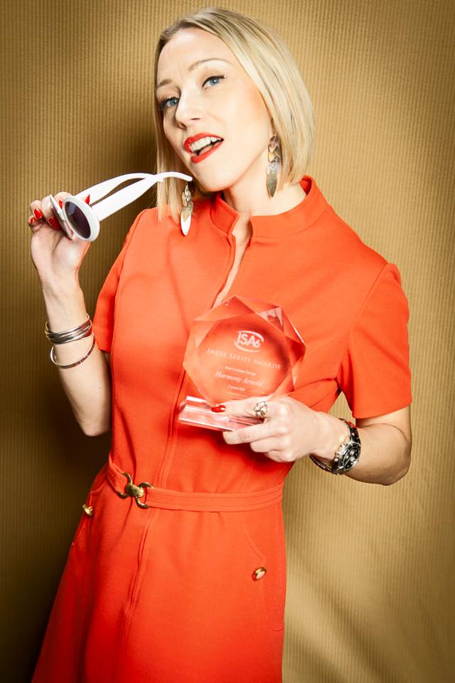 Harmony Arnold with her award for Best Costume Design